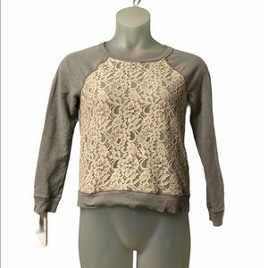 Apt 9 Gray with White Lace Warm Long Sleeve Sweate